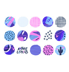 Abstract cut out circle shapes textured hand vector