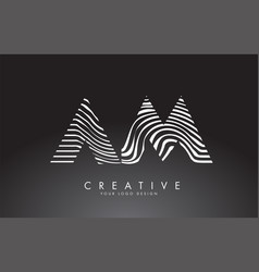 Am a m letters logo design with fingerprint black vector