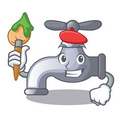 Artist water tap in shape mascot vector