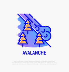 Avalanche thin line icon snowslip from mountains vector