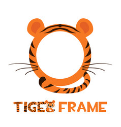 Avatar frame tiger round animal template for game vector