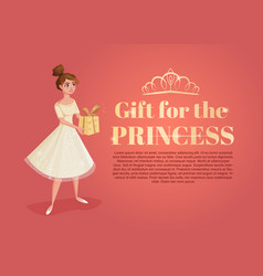 Banner with beautiful girl cartoon with gift in vector