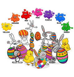 Basic colors with easter characters group vector