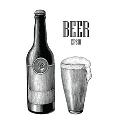 beer and mug vintage hand draw engraving style vector image