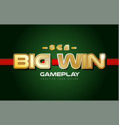 big win word text logo banner postcard design vector image
