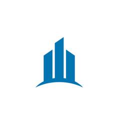 Blue real estate building logo design concept vector