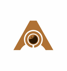 brown a letter with coffee shape inside logo vector image