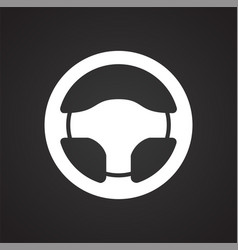 Car steering wheel on black background for graphic vector