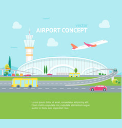 cartoon airport building and plane concept banner vector image