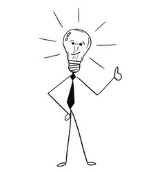 Cartoon of business man light bulb showing thumbs vector