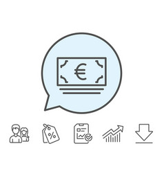 Cash money line icon banking currency vector