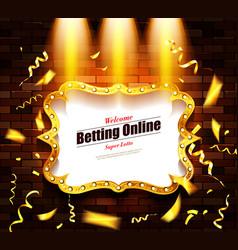 Casino banner on a shining retro billboard vector