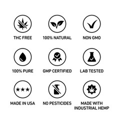 Cbd oil icons set including thc free 100 natural vector