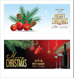christmas background red balls with decorations 3 vector image