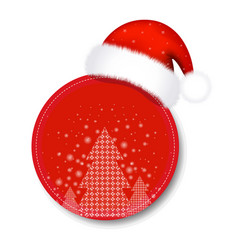 christmas sale tag with santa claus cap vector image