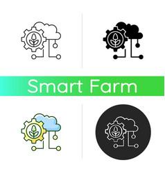 Cloud computing in farming icon vector