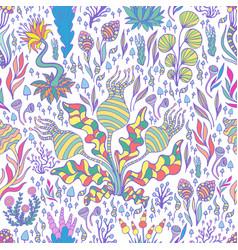 colorful exotic fantastic plants mushrooms vector image