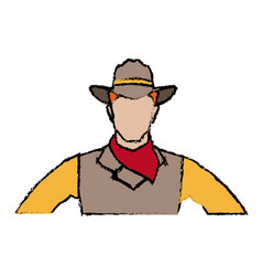 Cowboy face portrait of strong man vector