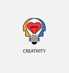 creative light bulbheart icon and human heads vector image