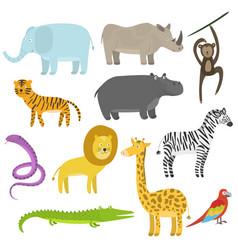 cute cartoon flat tropical and jungle animals set vector image