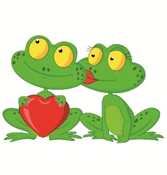 Cute cartoon frog couple holding red heart vector image