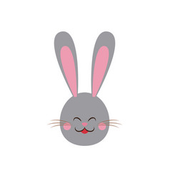 Cute easter bunny gray face vector