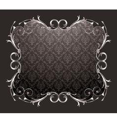 Damask floral frame vector
