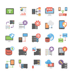 Database and storage flat icons pack vector