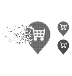 Dissipated pixel halftone supermarket cart marker vector