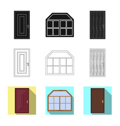 Door and front sign set of vector