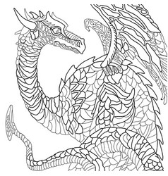 earth dragon graphic black and white sketch vector image