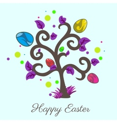 easter tree Holiday card Violet color vector image vector image