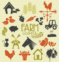 farm icons vector image vector image