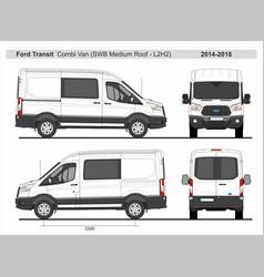 Ford transit combi delivery van l2h2 2014-2018 vector