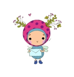 Forest Fairy with a letter vector