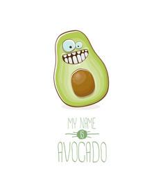 Funny cartoon cute green avocado character vector
