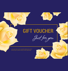 Gift voucher just for you lettering with yellow vector