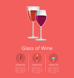 glass wine poster with two glasswares icons vector image