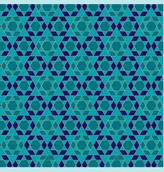 Gold blue jewish star pattern vector