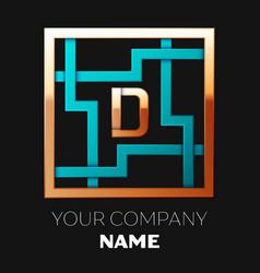 golden letter d logo symbol in the square maze vector image