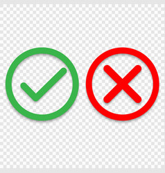 green tick and red cross checkmarks line icons vector image