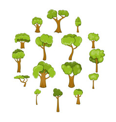 Green trees icons set cartoon style vector