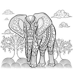 Greeting beautiful card with elephant frame vector