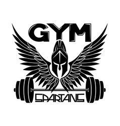 Gym sign with spartan helmet and wings vector