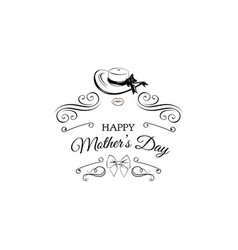 Happy mothers day card wide-brimmed hat bow vector