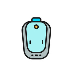 Hearing aid flat color line icon isolated on vector