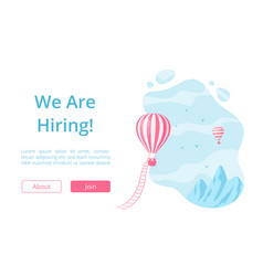 Hot air balloon and hiring message landing page vector