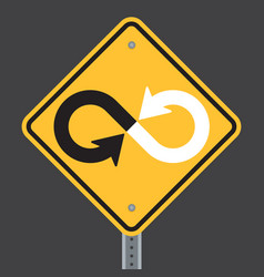 Infinity warning highway or road sign vector