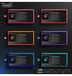 Infographic design list with colorful squares vector