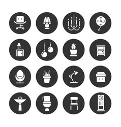 interior design white icons collection vector image